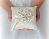 Ivory Wedding Ring Pillow, Ring Bearer Pillow with Swarovski Pearls and Crystals, Silk Ring Cushion with Flowers and Lace