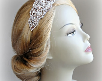 Rose Gold Headband, Crystal and Pearl Bridal Headband, Art Deco Head Piece - ALEXANDRA