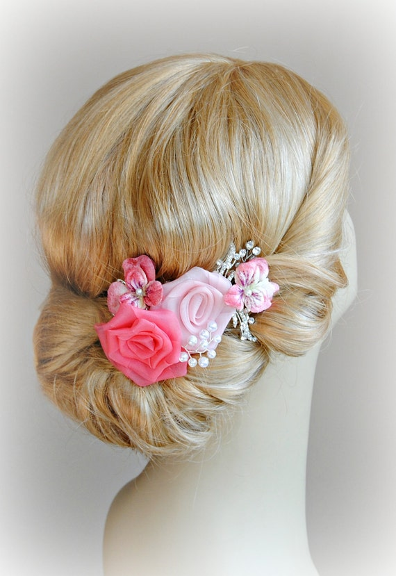 Wedding Hair Flowers Pink : Pink wedding hair flowers vintage style bridal fascinator
