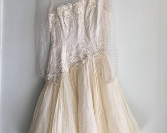 80s wedding dress / short wedding dress