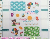 Spring Time Bears - printed kiss cut stickers for your planner or calendar - mini sampler sheet - MATTE
