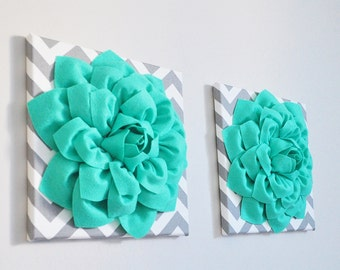 "Kids Room Decor - Teal Dahlia Flowers on Gray and White Chevron 12 x12"" Canvas Wall Art- Baby Nursery Wall Decor- Pool Blue gift for her"