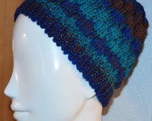 Blue Aqua Brown ombre knit winter hat wool & acrylic blend Adult size