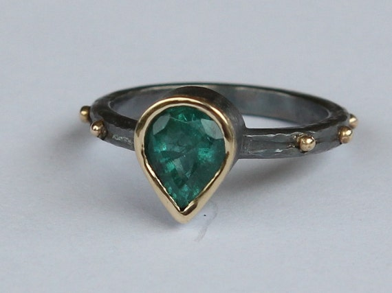 Hand Forged 1.08 CT Natural Zambian Emerald Ring Oxidized Sterling And 18K Gold SZ 7