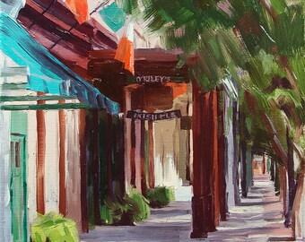 cityscape original oil painting 9x12 - O'Rileys Irish Pub & Grill