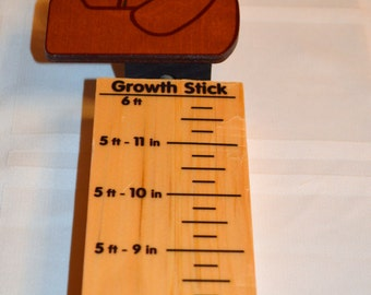 Childrens Gift Teddy Bear Wood Growth Measure Stick Gift Made in USA  ships in 24 hours