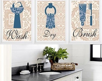 Bathroom Art Wash, Dry, Brush Spa Blue Beige Brown Bathroom Wall Art Home Decor Set of 3  Damask wall art- custom colors can be changed