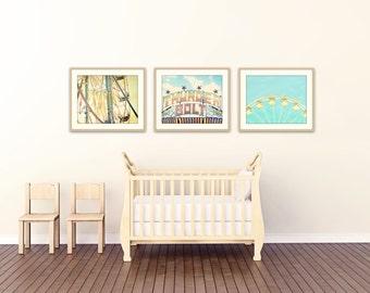 boy nursery art, set of 3 photos, carnival art set of 3 prints, toddler boy room decor, yellow and aqua art, gallery wall, boy room