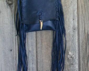 Blue leather crossbody bag , fringed leather bag , blue phone bag , Navy blue purse , boho handbags