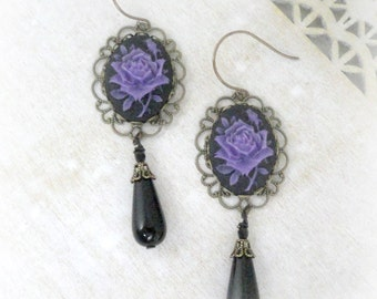 Cameo Earrings Gothic Earrings Purple Flower Earrings Cameo Jewelry Neo Victorian Jewelry Black Earrings Victorian Earrings