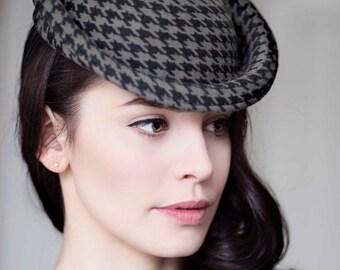 Saucer Hat, Pied-de-Poule Winter Races Hat, Houndstooth Occasion Fascinator, On Trend - Iris