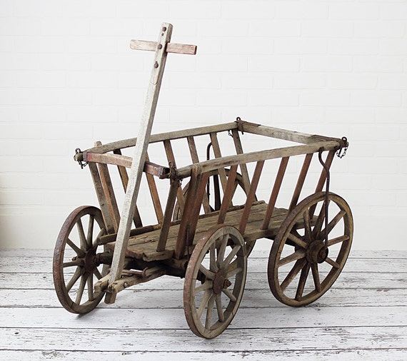 Antique European Goat Cart Potato Wagon Or Hay By