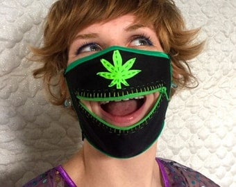 Pot sniffer zippermask for Burning Man dust storms, festival dancing, and trimmers