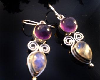 Amethyst Moonstone Earrings,minimalist Dangle earrings,Fine 925 Sterling Silver Earring,Purple FEBRUARY Birthstone Jewelry,Elegant Earrings