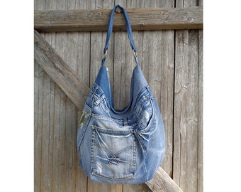Hobo bag slouchy tote large handbag purse shopper weekend recycled upcycled denim