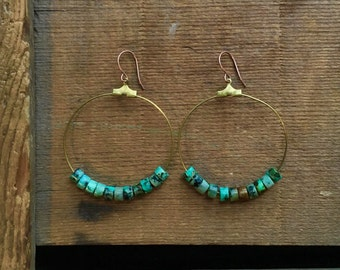 brass hoop earrings / turquoise dangles / brass and turquoise / AFRICAN TURQUOISE HOOPS