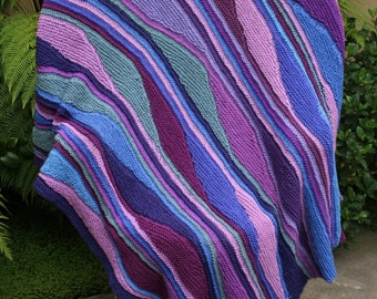 Blue and Purple Northern Lights Pure Merino Wool Color Waves Afghan Throw or Blanket