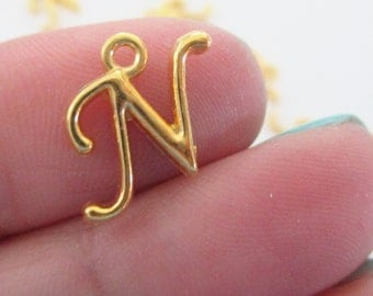Initial Letter N - Gold Charm Uppercase Alphabet - Alphabet Initial Pendant - 5 N PCS - Personalized Jewelry - DIY Jewelry findings