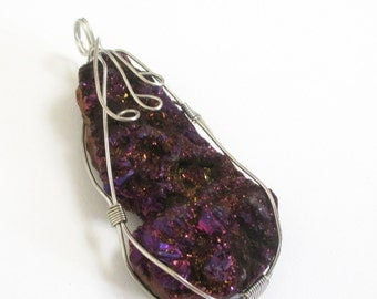 Metallic Druzy Pendant - Silver Wire Wrapped - Purple Crystal Geode Stone - Sparkly Teardrop - Raw Titanium Rock - Select With/Without Chain