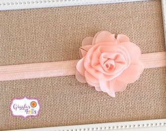 Peach Baby Headband, Peach Flower Headband, Toddler Headband, Peach Chiffon Flower Headband, Newborn Headband, Baby Headband, Photo Prop
