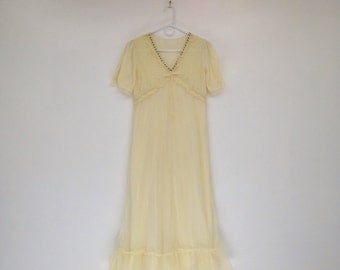 Vintage 1960s Pale Yellow Nylon and Lace Floral Maxi Nightgown