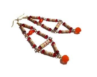 Upcycled Jewelry, Long Statement Earrings, Boho,  Repurposed Resistors in Red, Orange, Tan