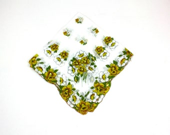 Vintage 50s Floral Handkerchief Ladies White Cotton Linen Hankie w Yellow Buttercups Hankie Hanky