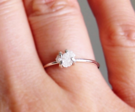 White Raw Diamond Ring-Silver Uncut Diamond Ring-Rough Diamond