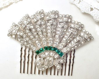 1920s Art Deco Emerald Green Bridal Hair Comb, 1930s Vintage Rhinestone Fan Silver Dress Clip to Hairpiece Antique Gatsby Wedding Headpiece
