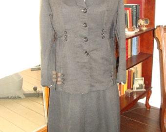 Antique 3 PC Suffragette 1910-15 Black Suit Edwardian Uniform Jacket Skirt Hat Maroon Feather