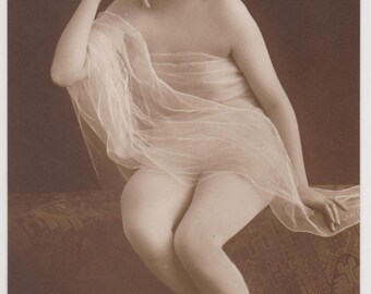RISQUE EDWARDIAN BEAUTIFUL Semi Nude Lady with Ethereal Veil and Flowers in Hair Rare Real Photo Vintage Postcard Collectible...early 1900s