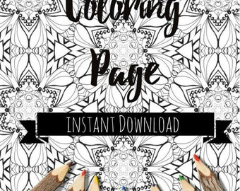 Adult Coloring Book Printable Pages Instant Download Zendoodle Colouring Page Art Therapy Digital Illustration