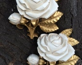 Matching set of Vintage Homco Gold Cream Rose Wall Plaques Decor