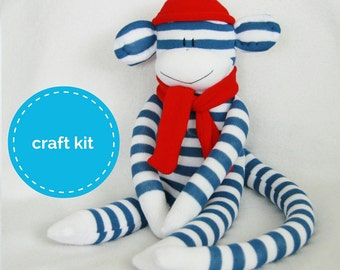 Stuffed toys, Sock Monkey Craft  Kit - Blue and White Stripes and Red Hat, Toy Pattern