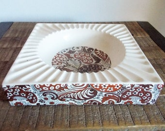 Vintage Hyalyn Cali Pottery Large Square White and Brown Paisley Ashtray
