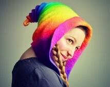 Double Rainbow Pixie Hood. Fantasy Hat. Cosplay Hat. LARP.
