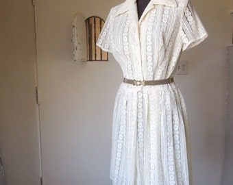 LAST CHANCE SALE... Vintage 60's Lace Dress, Day Dress, Sheer, Short Sleeve, Ecru or Cream, Size Medium to Large, Waist 29