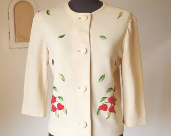 Vintage 60's Jacket, Beige Jacket with Embroidered Strawberries in Red and Green, Wool, Rockabilly, Small to Medium Size, SALE
