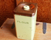Vintage Yellow and Copper Metal Flour Canister - Lincoln Beautyware