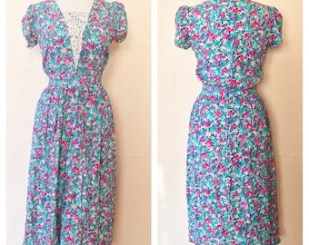 Floral Karin Stevens // Vintage Dress // 80s Dre
