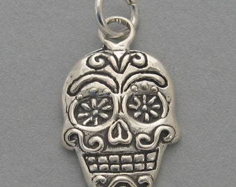 SUGAR SKULL Sterling 925 Charm Day of the Dead Halloween 4481