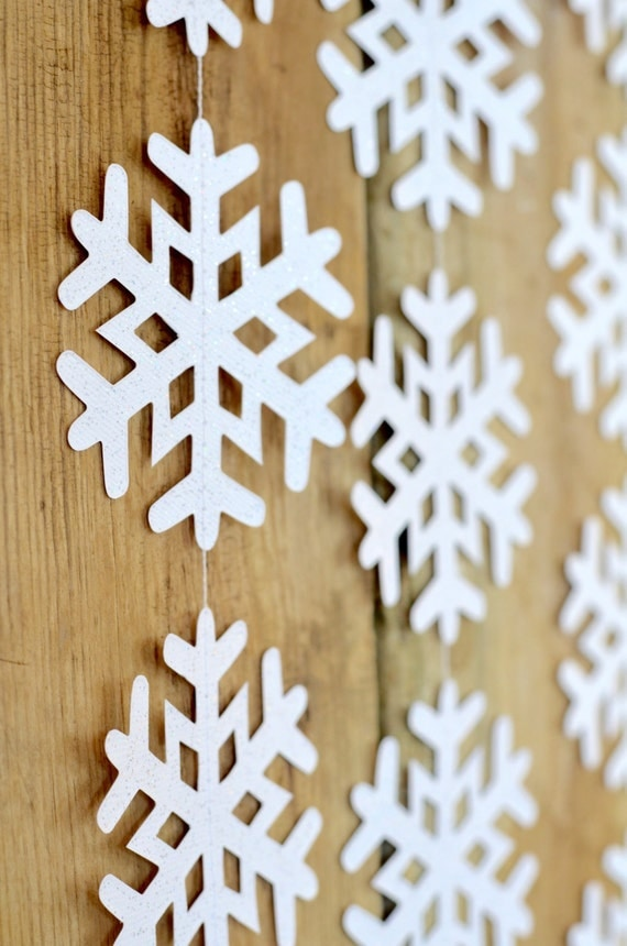 Frozen Snowflake Garland - medium frozen snowflake banner in white or glitter white, 4 feet long. Other colors available.