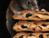 "2 1/2"" X 3 1/2""    ACEO Mouse and Chocolate Chip Cookies                               Original Acrylic Painting"