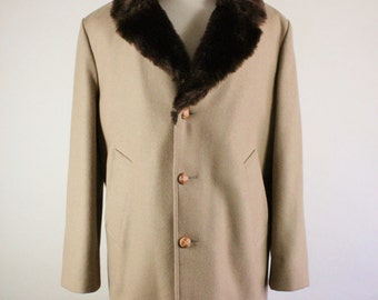 SALE - Vintage 70s Khaki Brown With Faux Fur Collar Wool Winter Jacket - Mens Size Large