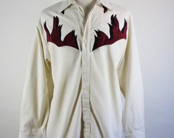 Western Shirt. Flames Western Shirt. Rodeo Cowboy Shirt. Vintage. Size Large. GOGOVINTAGE. FREE SHIPPING