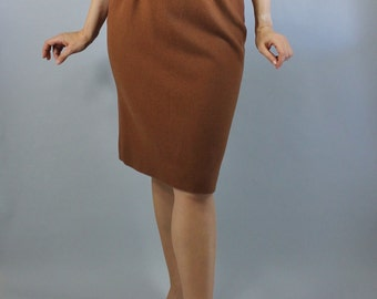 Vintage 80s does 50s Women's Brown Camel Hair Fall Winter Hourglass Office Pencil Skirt