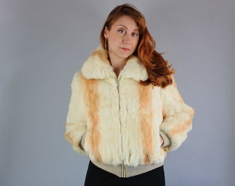 Vintage 70s Women's Cream Rabbit Fur Short Boho Jacket Coat