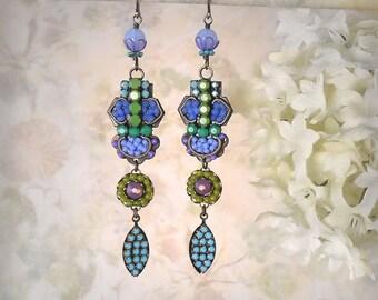 Immortal Sea - Blue Mosaic Earrings Czech Glass and Rhinestone Earrings Royal Blue Periwinkle Cornflower Turquoise Apple Green Micromosaic