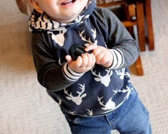 Baby Hoodie - Baby Sweatshirt - Baby Boy Clothes - Baby Shirt - Blue Buck