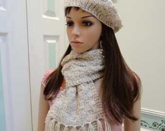 READY TO SHIP : Hat and scarf set, hand knitted, in an off white/oatmeal  heather colored yarn with beaded suede applique.